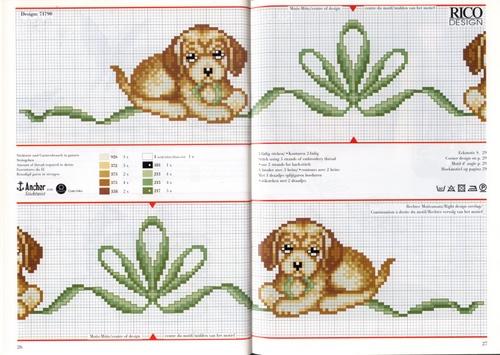 Animali cagnolino fiocco punto croce for Animali a punto croce per bambini