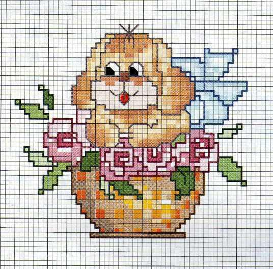 Animali cane tra fiori punto croce for Decorazioni punto croce bambini