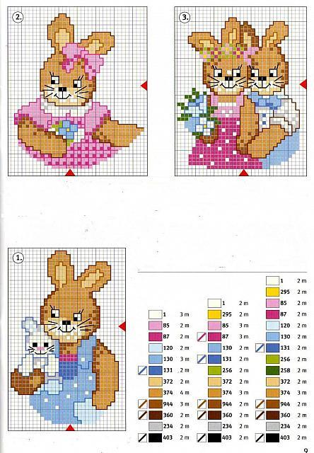 Animali coniglietti1 punto croce for Schemi punto croce animali per bambini