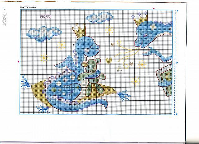 Animali draghetti blu 1 punto croce for Animali a punto croce per bambini