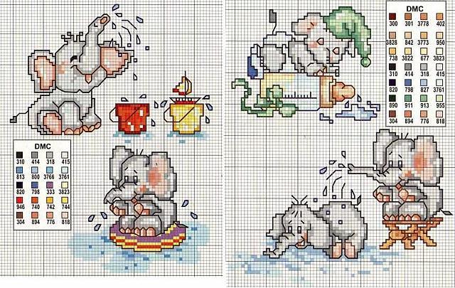 Animali elefantini punto croce uncinetto for Animali a punto croce per bambini