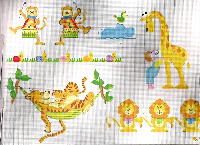Animali giraffa tigre con cucciolo su amaca magiedifilo for Schemi punto croce animali gratis