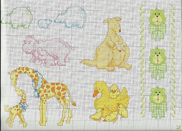 Animali mamme con cuccioli punto croce for Animali a punto croce per bambini