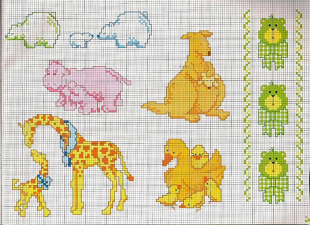 Animali mamme con i cuccioli giraffa ippopotamo gallina for Animali a punto croce per bambini