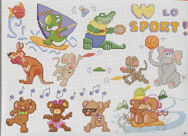 Animali sport punto croce uncinetto for Animali a punto croce per bambini