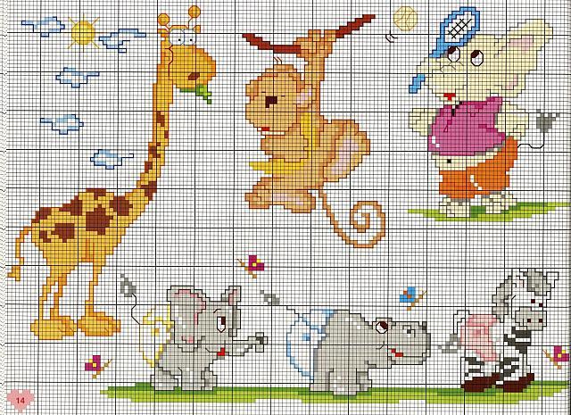 bambini animali scimmietta giraffa punto ForAnimali A Punto Croce Per Bambini