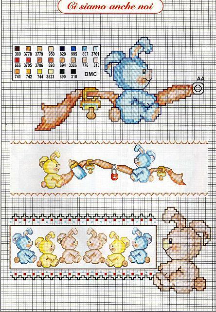Bambini coniglietti ciuccio biberob1 for Punto croce bambini gratis
