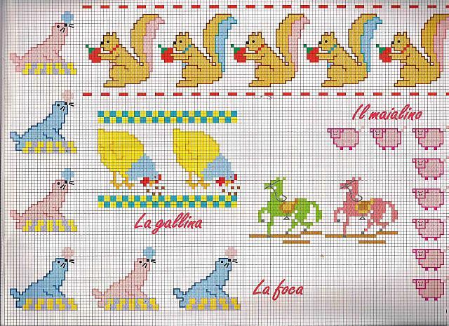 Bordi da ricamare con scoiattolini e foche magiedifilo for Schemi punto croce alfabeto bambini