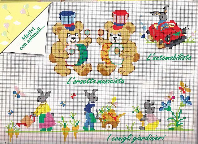 Motivi punto croce bimbo con orsetti e coniglietti for Piccoli ricami punto croce per bambini