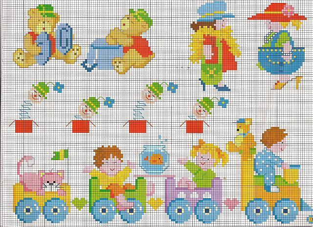 Orsetti e bimbi su trenino giocattolo schemi punto croce for Orsetti a punto croce schemi