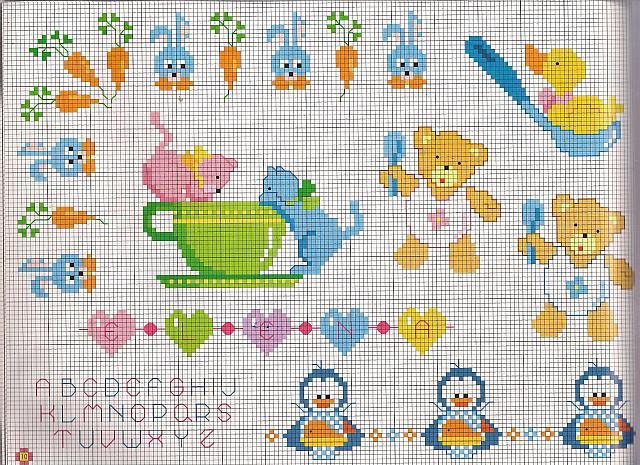 Teneri orsetti punto croce con cucchiaino for Disegni a punto croce per neonati