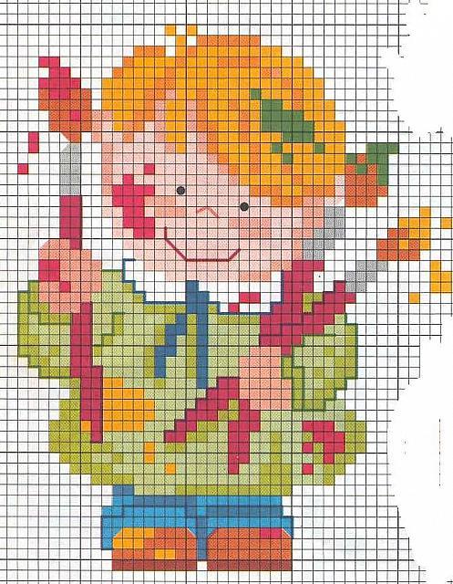 Bambino colori pennelli punto croce for Punto croce bambini gratis