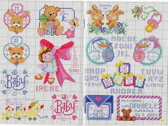 Ciuccio con fiorellini1 punto croce for Schemi punto croce alfabeto bambini