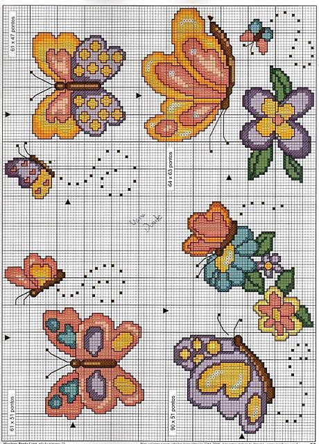 farfalle schema punto croce bavaglino