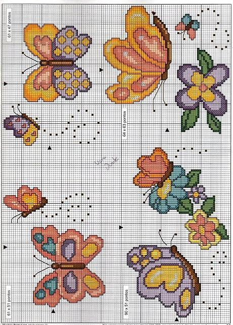 145 disegni punto croce per bambini bambini animali for Farfalle a punto croce per bambini