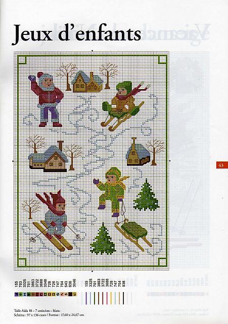 Bambini sulla neve punto croce punto for Decorazioni punto croce bambini