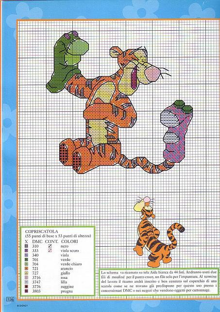 Copriscatola schema punto croce con tigro personaggio for Winnie the pooh punto croce