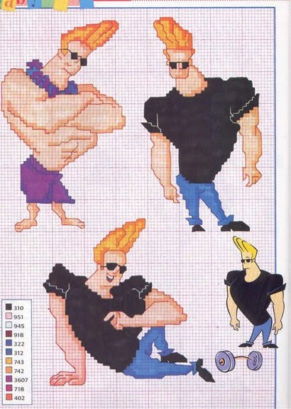 Johnny bravo schema punto croce magiedifilo