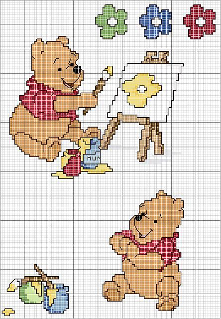 Schema da ricamare di winnie the pooh che dipinge for Winnie the pooh punto croce schemi