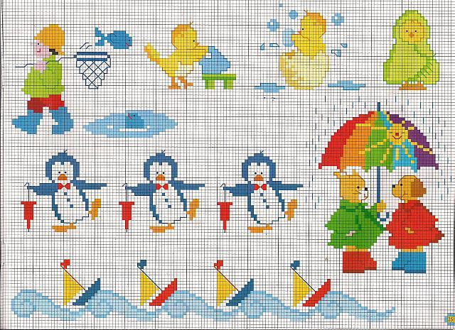 Pinguini e navi idee per copertina lenzuolino punto croce for Idee per punto croce