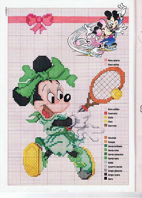 Disney minnie tennista con vestito verde for Punto croce bambini disney
