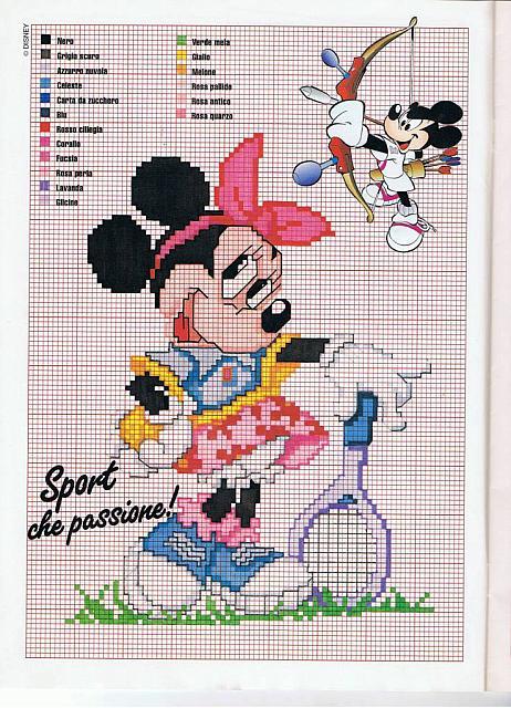 Disney minnie tennista da ricamare punto for Punto croce bambini disney