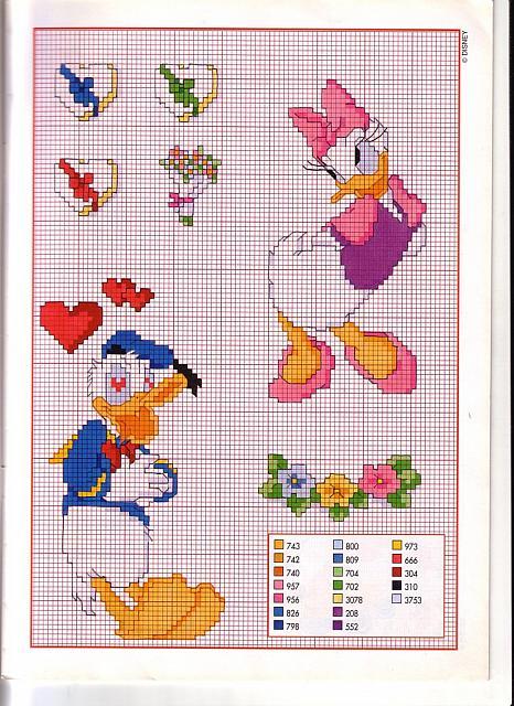 Disney paperino innamorato pazzo di paperina magiedifilo for Punto croce bambini disney