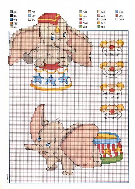 Dumbo al circo schema punto croce punto for Schemi punto croce bambini disney