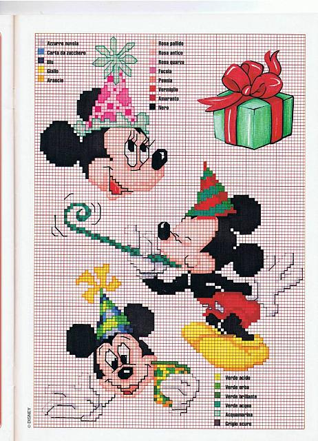 Minnie e topolino schemi punto croce per il compleanno for Punto croce bambini disney