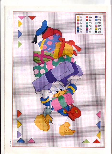 Paperino punto croce con una pila di bagagli magiedifilo for Schemi punto croce bambini disney