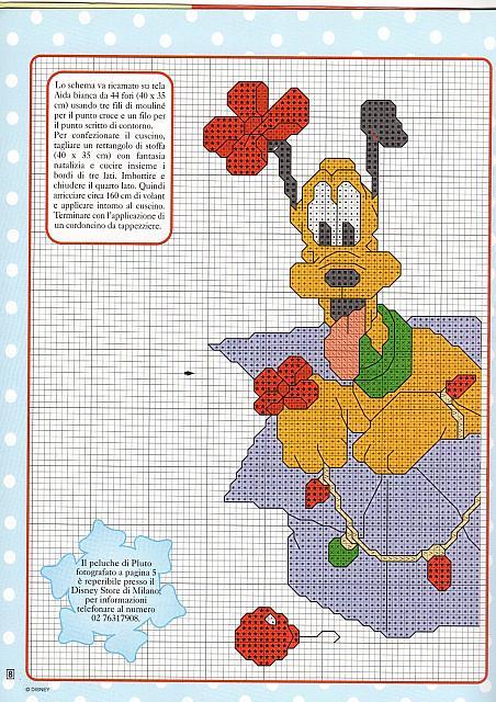 Pluto disney da ricamare sul cuscino per natale 1 for Schemi punto croce pluto