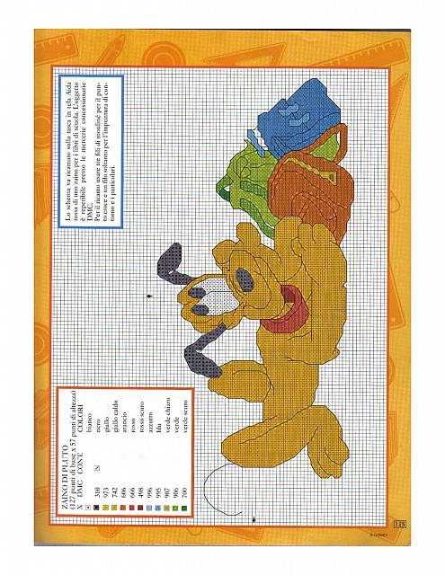 Pluto della disney con zainetti bambini for Schemi punto croce pluto