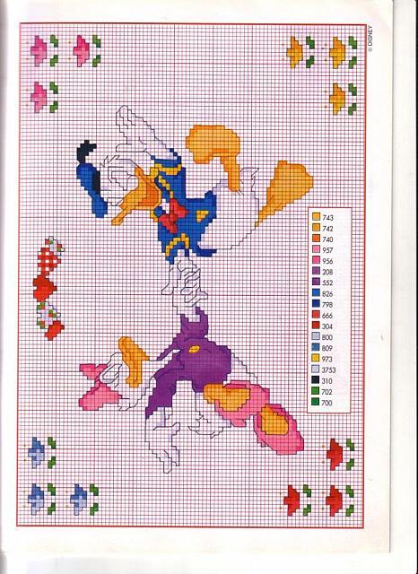 Schema punto croce di paperino e paperina felici for Punto croce bambini disney