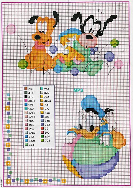 Baby paperino pluto pippo schema 78 punto for Schemi punto croce pluto