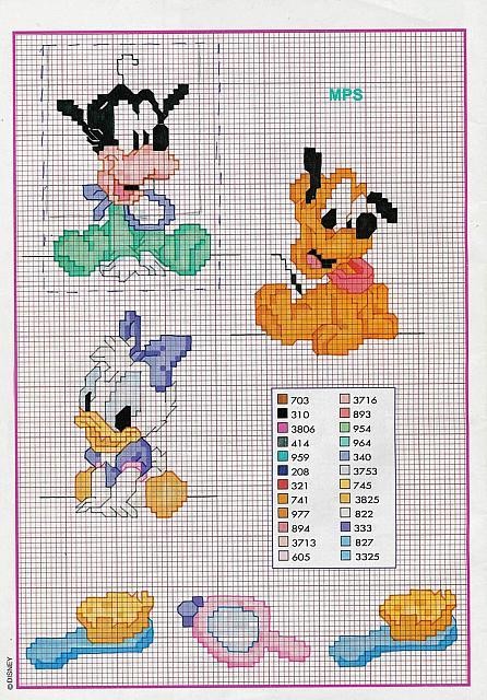 Baby pippo paperina pluto punto croce for Disney punto croce schemi gratis