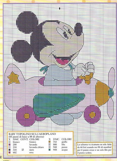 Baby topolino su aereo 2 punto croce for Schemi punto croce bambini disney