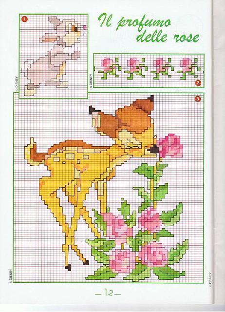 Bambi fiori punto croce uncinetto schemi for Punto croce bambini disney