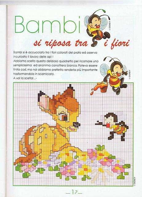 Bambi seduto su fiori punto croce for Schemi punto croce bambini disney