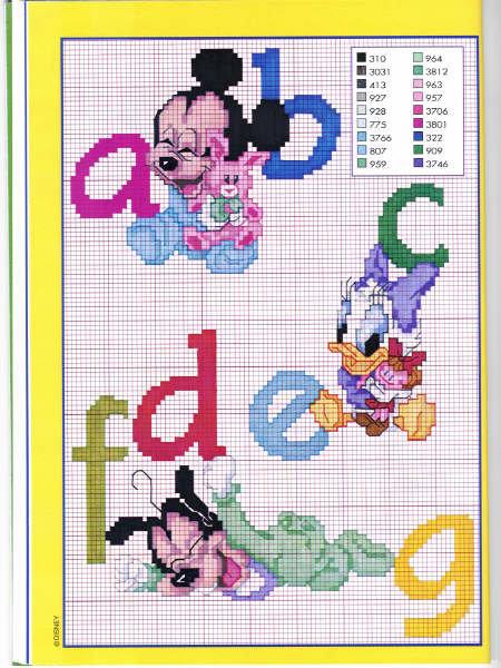 Beby disney alfabeto 2 punto croce for Alfabeto punto croce disney gratis