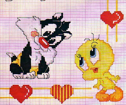 Disney gatto silvesto titti punto croce for Disney punto croce schemi gratis