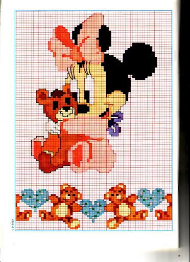 Disney baby minni orsacchiotto punto for Punto croce bambini disney