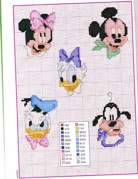 Disney baby visini punto croce uncinetto for Punto croce bambini disney