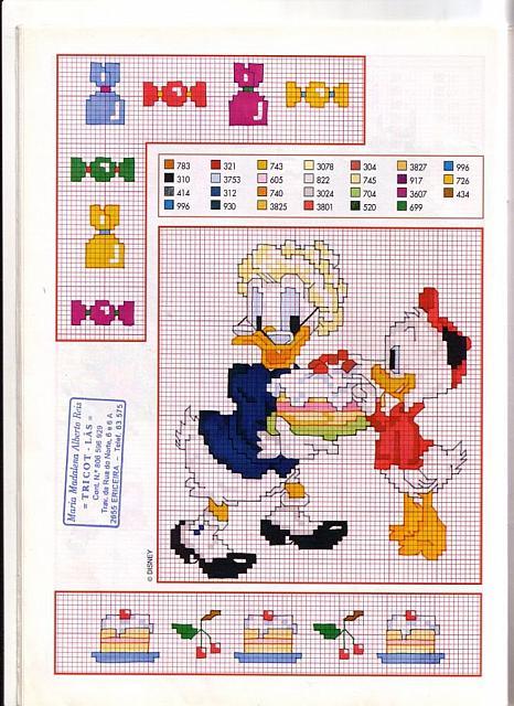 Disney nonna papera nipotino punto croce for Schemi punto croce bambini disney