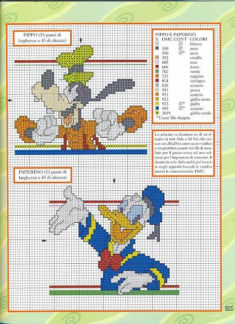 Disney pippo paperino punto croce for Punto croce bambini disney