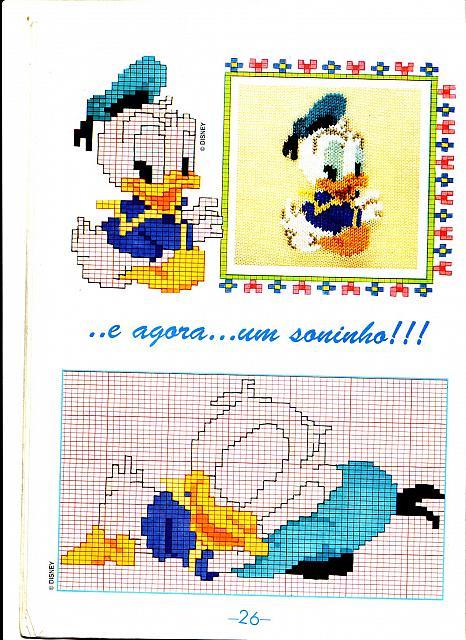Schema ricamo di baby paperino che dorme sul cappello for Punto croce bambini disney