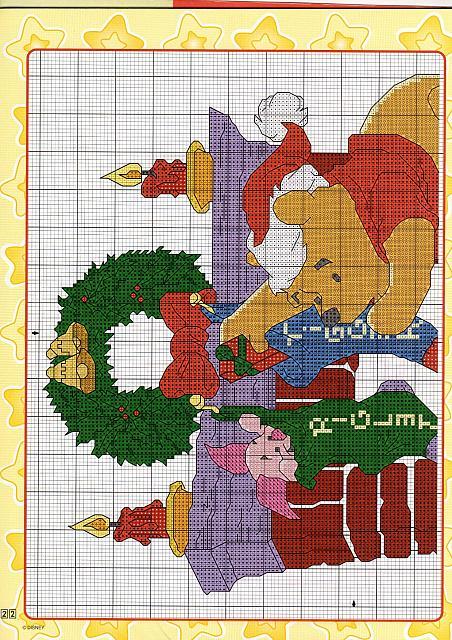 Schema ricamo winnie the pooh al caminetto 1 for Punto croce disney winnie the pooh