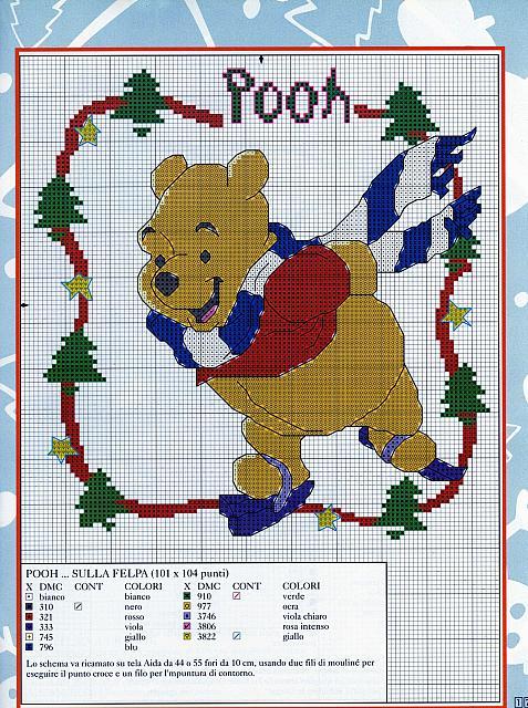 Winnie the pooh pattina sul ghiaccio a punto croce for Punto croce disney winnie the pooh