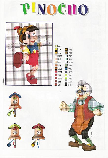 Pinocchio geppetto e orologi punto croce for Orologio punto croce schemi gratis