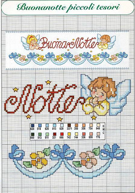 Buonanotte con angeli schema punto croce per lenzuolino 2 for Punto croce bambini gratis