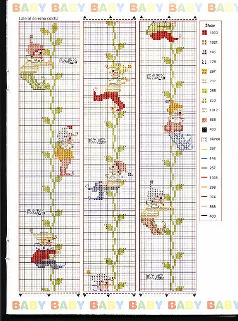 Copertina lettino e paracolpi con i folletti a punto croce for Schemi lenzuolini punto croce